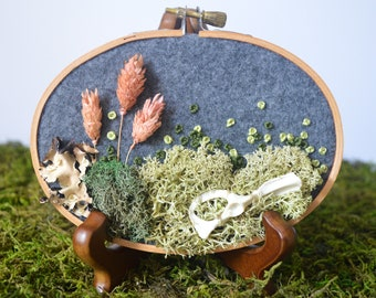 3in x 5in Moss and Bone Embroidery With Squirrel Pelvis - Recycled Material - Hand Stitched - Real Bone