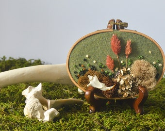 3in x 5in Moss and Bone Embroidery With Squirrel Jaw - Recycled Material - Hand Stitched - Real Bone