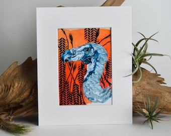 White Backed Vulture Matted Fine Art Print - Archival Ink, Acid Free - For 8x10 Frame