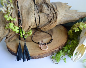 Magnetic Clasp Copper and Glass Locket - Glass, Copper, and Agate Stone Wrap Necklace with Genuine Leather Tassels - Witch Wear