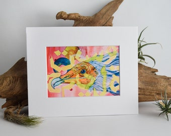 Egyptian Vulture Matted Fine Art Print - Archival Ink, Acid Free - For 8x10 Frame