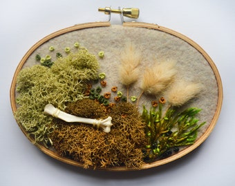 3in x 5in Moss and Bone Embroidery With Squirrel Bone - Recycled Material - Hand Stitched - Real Bone