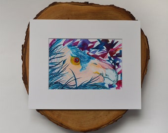 California Condor Matted Fine Art Print - Archival Ink, Acid Free - For 8x10 Frame