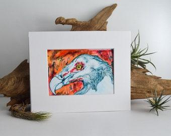 Palm Nut Vulture Matted Fine Art Print - Archival Ink, Acid Free - For 8x10 Frame