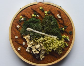 """3"""" Moss and Bone Embroidery With Squirrel Bone - Recycled Material - Hand Stitched"""