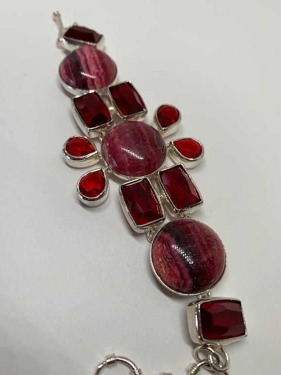 Modern sterling silver red gemstones bracelet - image 3