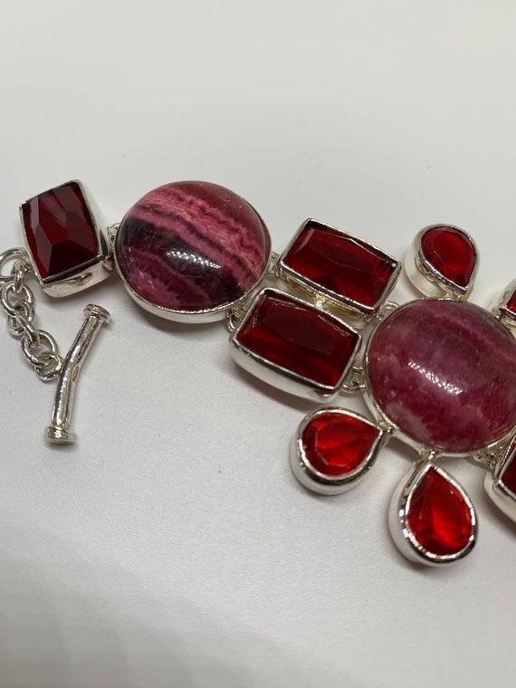 Modern sterling silver red gemstones bracelet - image 5