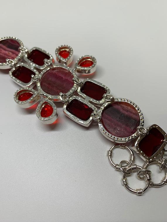 Modern sterling silver red gemstones bracelet - image 2