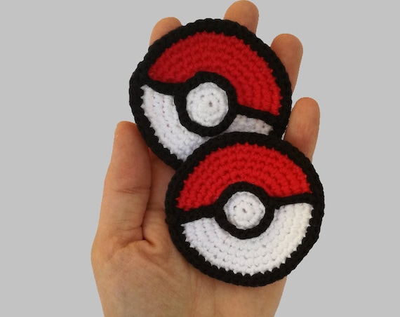 Pokeball Applique - Appliques Patterns. Crochet Pattern PDF, Nursery Crochet, Pokemon, Digital File, Instant Download, Accessories Pattern