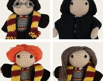 Harry Potter Pack: Harry, Hermione, Ron Weasley & Severus Snape. Amigurumi Pattern PDF, DIY, Crochet, Doll, Geek, Gift, Instant download