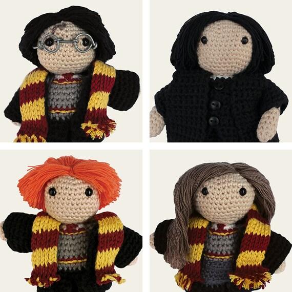 Harry Potter Pack: Harry, Hermione, Ron Weasley & Severus Snape. Amigurumi Pattern PDF.