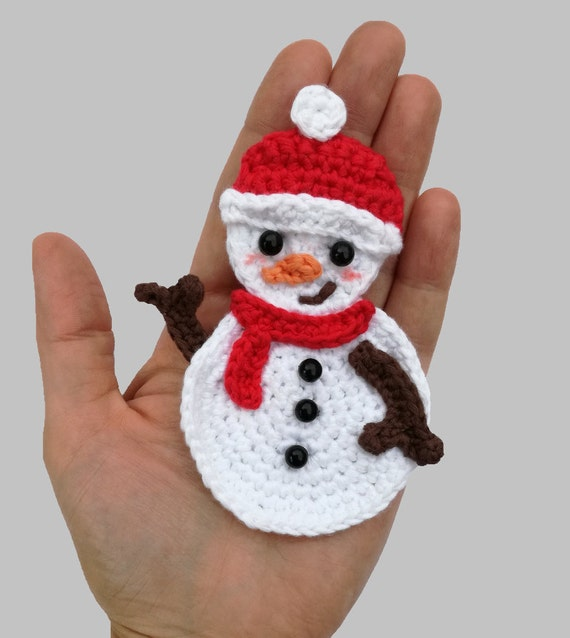 Snowman Applique - Appliques Patterns. Christmas Pattern PDF, Nursery Crochet, Kid Gift, Digital File, Instant Download, Accessories Pattern