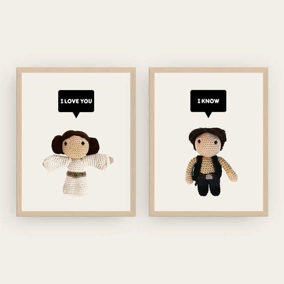 Leia and Han Solo: I love you / I know. Amigurumis Prints.