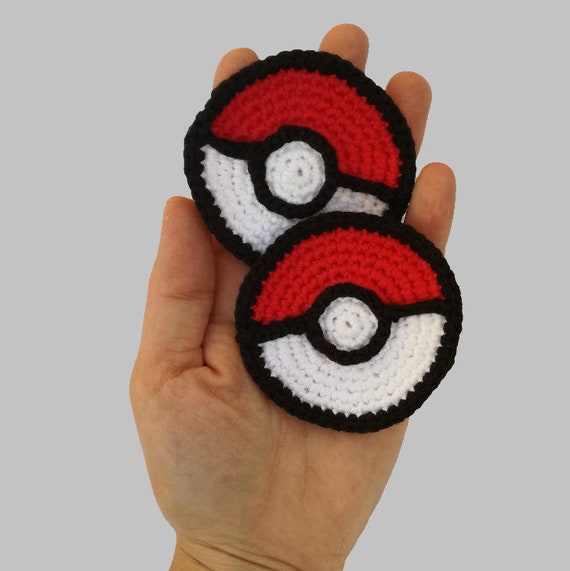 Pokeball Applique - Appliques Patterns. Crochet Pattern PDF, Nursery Crochet, Pokemon, Digital File, Instant Download, Accessories Pattern