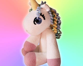 Unicorn - Soft Toys. Amigurumi Pattern PDF, Animal Teddies, Rainbow Doll, Nursery Crochet Pattern, Children Toy,  DIY, Crafts, Digital File