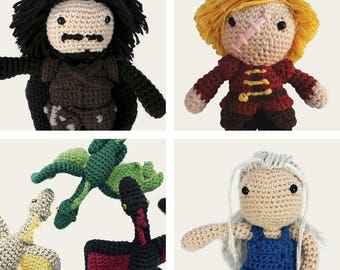 Game of Thrones Pack: Jon Snow, Tyrion Lannister, Daenerys, & Dragons. Amigurumi Patterns, PDF, DIY, Crafts, Crochet, Geek, Gift, TV Series