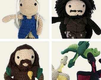Game of Thrones Pack: Daenerys, Jon Snow, Ned Stark & Daenerys Dragons. Amigurumi Patterns, PDF, DIY, Crafts, Crochet, Geek, Gift, TV Series