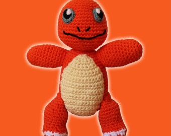 Charmander - Pokemon. Amigurumi Pattern PDF, Orange Dragon Toy, Nursery Doll, Geek Crochet, Cute Children Gift, DIY, Crafts, Digital File