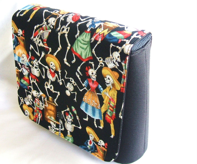 Day of Death cotton fabric messenger bag with adjustable strap.