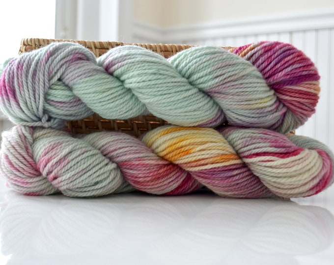 woolen spun Corriedale Aran weight yarn duets UK wool
