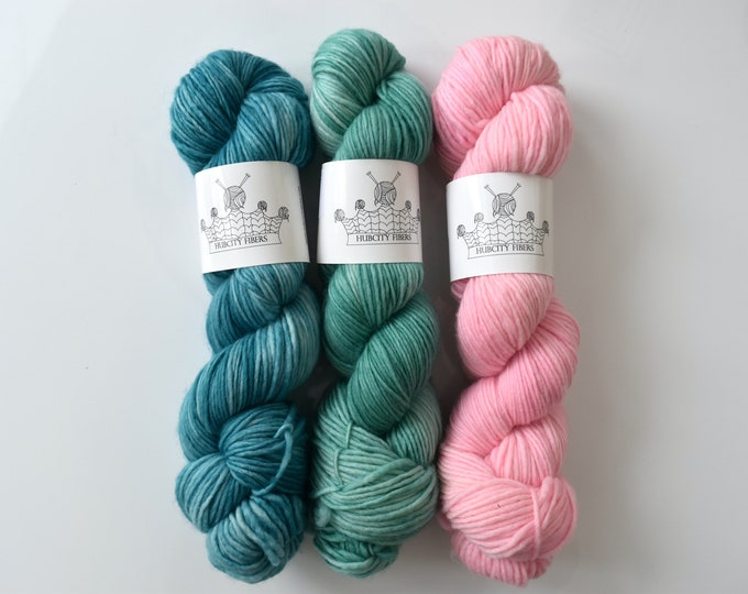 "QTY 3 YUMMY base: ""teal, green,pink"" hand dyed yar, handpainted yarn, superwash merino yarn,, sock yarn, kettle dyed yarn, fingering"
