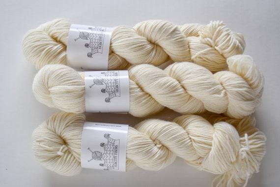 """DELICIOUS: """"raw milk"""" hand dyed yarn, handpainted yarn, superwash merino yarn,cashmere, dk yarn, kettle dyed yarn,DK"""