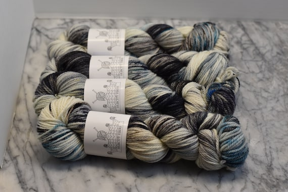 "AWESOME: ""SPACED OUT"" hand dyed yarn, handpainted yarn, superwash merino yarn,highland wool, dk yarn"