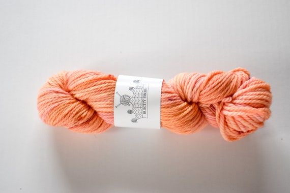 "CHUNKY: ""Peach emoji"" hand dyed yarn, handpainted yarn, superwash merino yarn,, bulky yarn, kettle dyed yarn, bulky"