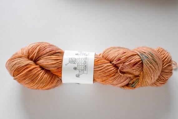 "SQUISH: ""bourbon"" hand painted yarn, handpainted yarn, superwash merino yarn, nylon, sock yarn, kettle dyed yarn, fingering"