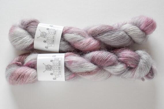 """MOHAIR: """"Dreamy"""" hand dyed yarn, handpainted yarn, superwash merino yarn,cashmere, dk yarn, kettle dyed yarn,DK"""