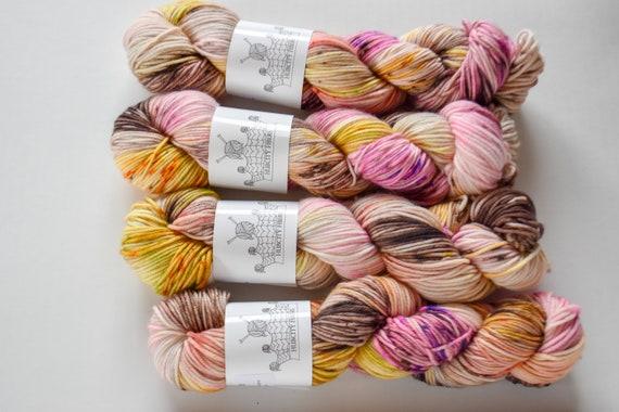 """DELICIOUS: """"searching for truffles"""" hand dyed yarn, handpainted yarn, superwash merino yarn,cashmere, dk yarn, kettle dyed yarn,DK"""