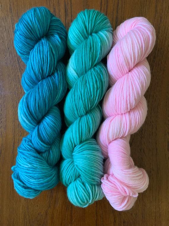 """QTY 3 YUMMY base: """"teal, green,pink"""" hand dyed yar, handpainted yarn, superwash merino yarn,, sock yarn, kettle dyed yarn, fingering"""