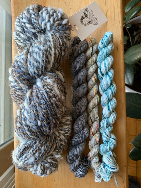 HANDSPUN YARN Collection in Gray/ BLUE