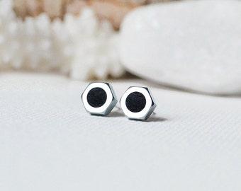 Christmas Sale Gift for him Men's jewelry for men screw studs mens earring for men unisex earring men studs boyfriend gift screw earrings