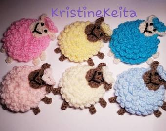 handmade crochet sheep applique//embellishment choice of colours