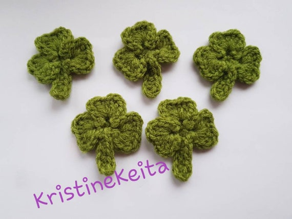 shamrock 5 crochet clover leaf applique//embellishment