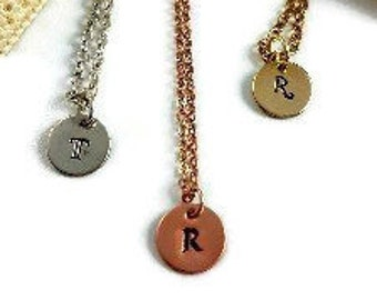 Custom, Initial ,Dainty, Small Disk, Gold, Silver,  Copper,Custom initial Necklace, Personalized Necklace, Monogram Necklace