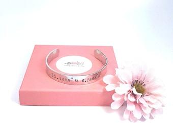 Custom Coordinates, GPS Coordinates Bracelet, Location Jewelry,  Location Jewelry - Latitude Longitude - GPS Location - Couples Jewelry,