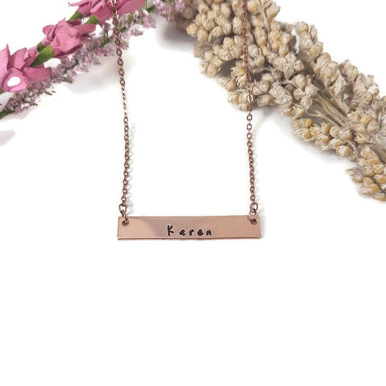 Name Necklace Rose Gold Personalized Bar Necklace Bar Necklace