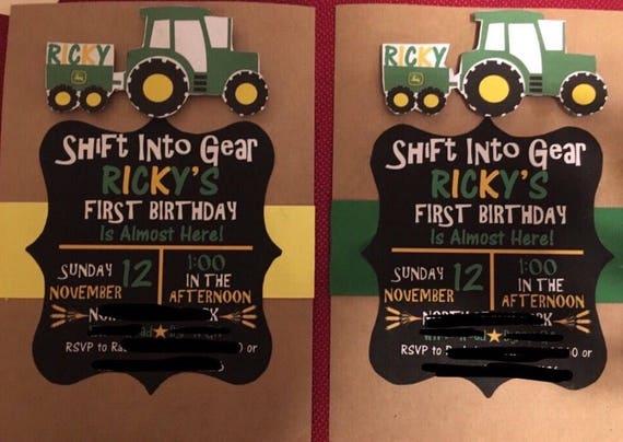 John Deere Invitations John Deere Birthday Tractor Etsy
