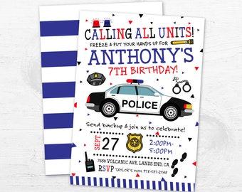 Police Birthday Invitation, Police Car Party Invite, Police Officer Invite, Police Officer Invite, Cop Car Boy Birthday Police Badge DIGITAL