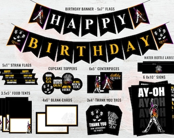 Queen Birthday Party Supplies Band Decorations Thank You Tags Freddie Mercury DIGITAL ONLY
