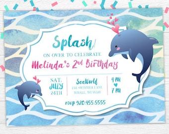 Dolphin invitation etsy dolphin birthday invite dolphin birthday invitation dolphin invite under the sea invitation dolphin digital invite watercolor digital filmwisefo