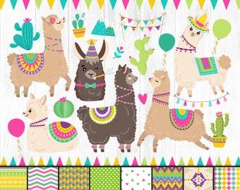 Llama and Alpaca Clipart (Grafik) von magreenhouse · Creative Fabrica