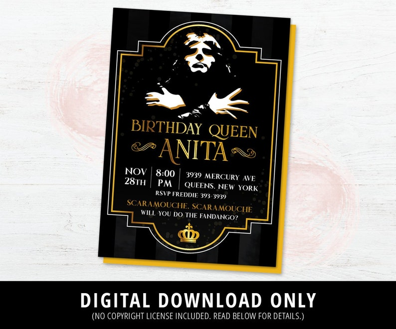 Queen Invitation, Queen Birthday Invite, Bohemian Rhapsody Invitation,  Freddie Mercury Birthday Invitation, DIGITAL