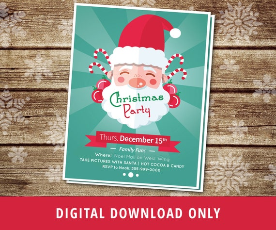 Christmas Party Flyer.Christmas Flyer Merry Christmas Party Flyer Santa Clause Flyer Santa Claus Kids Christmas Party Invite Custom Christmas Flyers Digital
