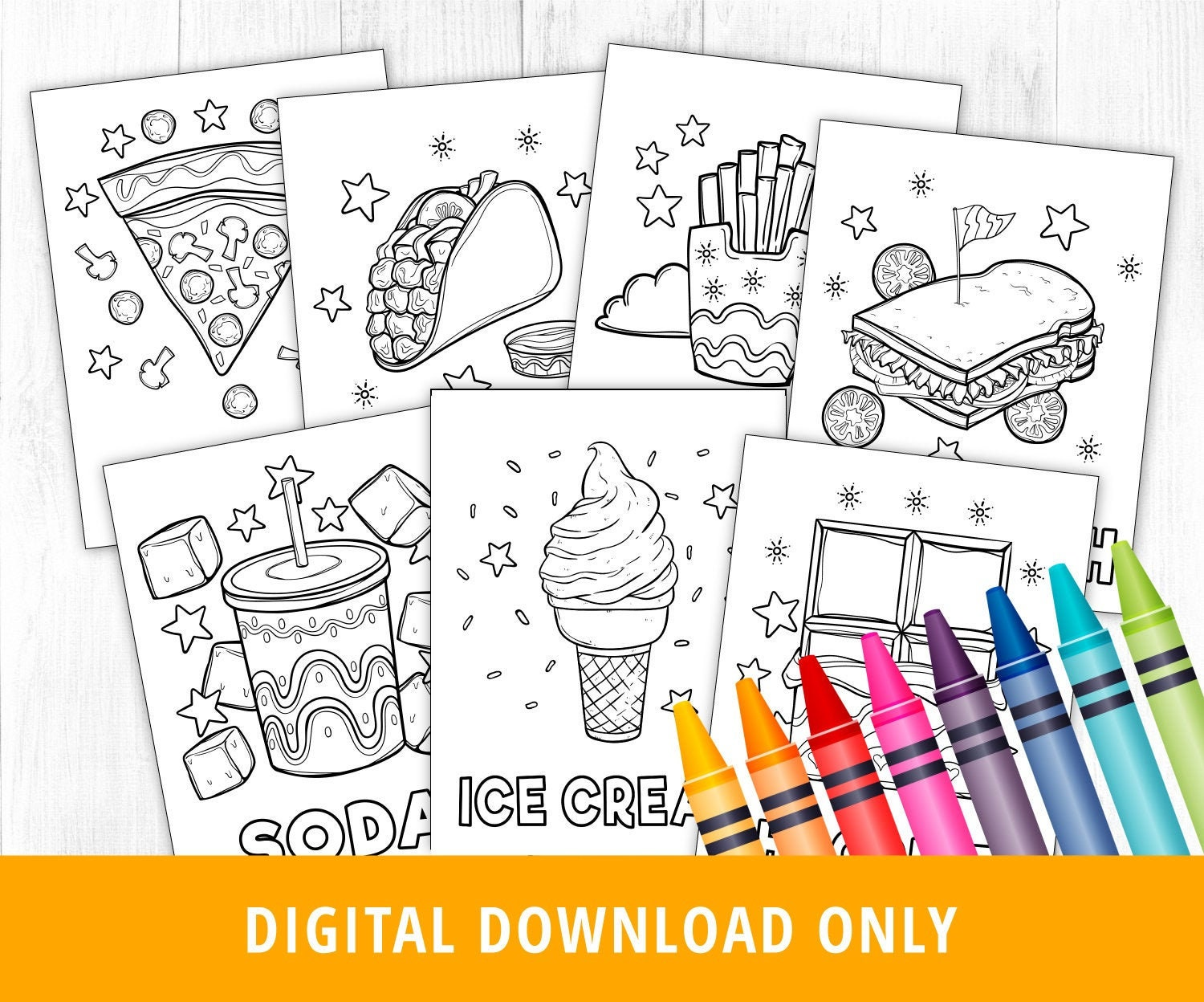 Fast Food Coloring Pages, Food Coloring Pages, Printable Coloring Pages,  Junk Food, Burger, Hot Dog, Pizza, Ice Cream, Soda, Taco, DIGITAL