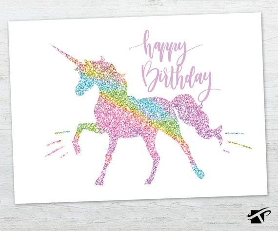 Unicorn Birthday Card Glitter