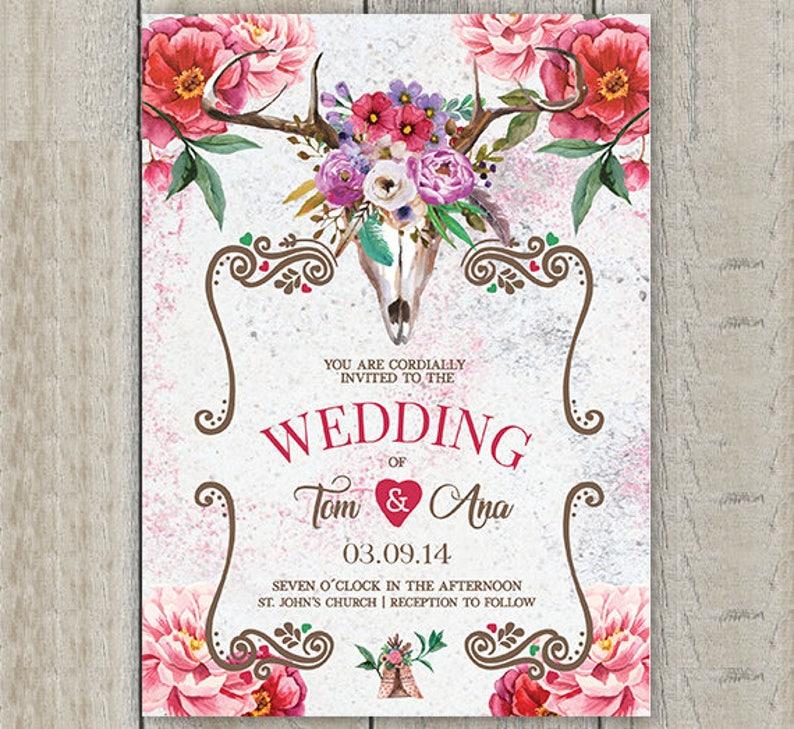 Boho Wedding Invitation Kit \u2022 Boho Wedding Save the Date \u2022 Boho Skull Wedding Invites \u2022 Rustic Wedding \u2022 Boho Floral Wedding \u2022Tribal Wedding