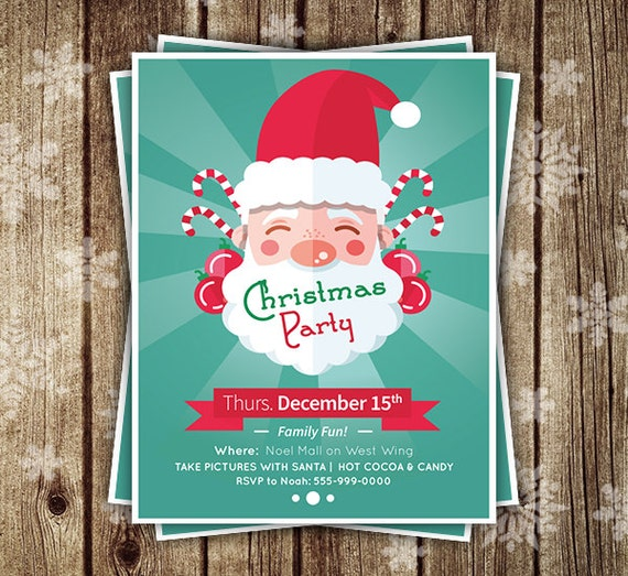 christmas flyer merry christmas party flyer santa clause etsy